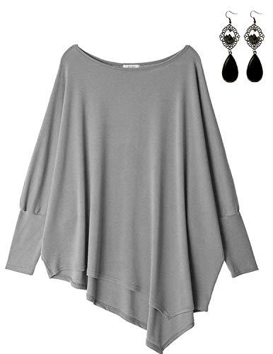 Sitengle Damen Langarmshirt Blusen Asymmetrisch Solide T shirt Casual Loose Rundhals Langshirt Oberteil Tops Hellgrau One Size