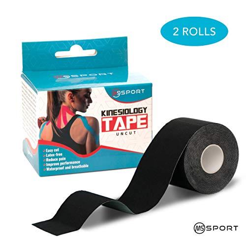 Qualität Kinesiologie Tape Set 2 Rollen 5m x 5cm - Kinesiotape Wasserfest und elastisch für Sport - Premium Ungeschnittenes Physio Tape - Sporttape - Starke Klebrigkeit - für Muskel- und Sportverletzungen - Schwarz