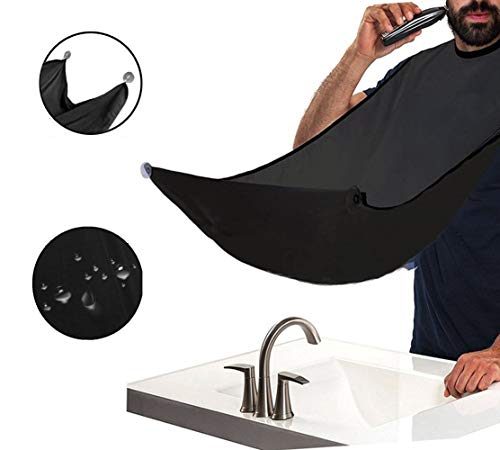 Grembiule per barba. grembiule con ventose per specchio. cattura barba e capelli. non preoccuparti di rimuovere peli della barba, capelli e baffi nel bagno (nero)