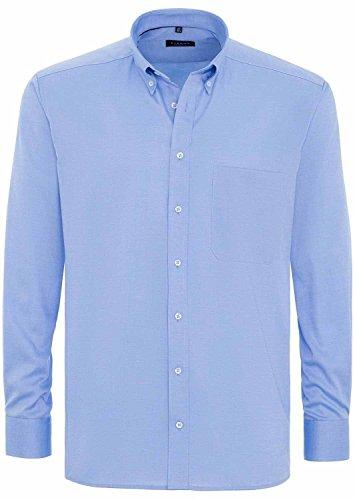 eterna Comfort Fit Langarm Weiß Uni mit Button-Down-Kragen Mittelblau