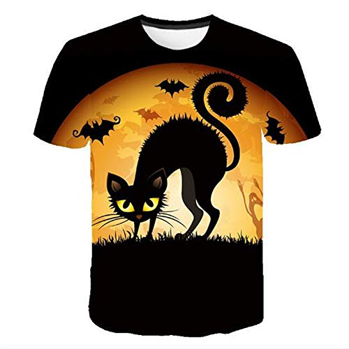 Herren Neuheit T-Shirt 2019 Sommer Casual Kurzarm 3D Digital Gedruckt T Shirt Tops Premium,Halloween Cat Print Schwarz XL (New York 2019 Halloween In)
