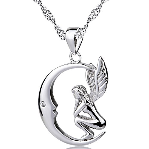 Damen Schmuck Sterling Silber Engel Mond Halsketten Einlege Zirkonia Anhänger Weiß Vergoldet Ketten