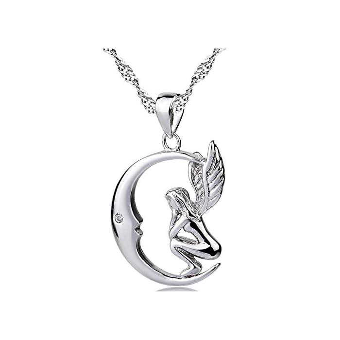 Anhänger und Halskette aus 925erSterlingsilber, Form: Fee/Engel im Mond, von Silber Mountain
