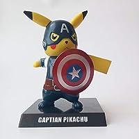 KAPAIDASHI Anime Mascota Elf Pokemon Muerto Camarera cos Pikachu y US Captain cos Pikachu Hecho a Mano,A