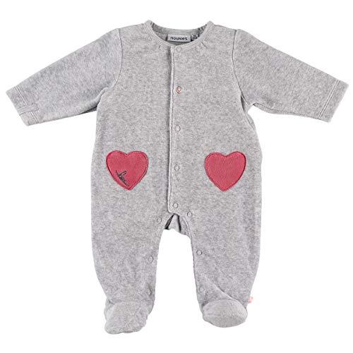 Noukie's Noukies Pyjama grenouillère en Velours Bébé Fille Gris chiné 3M