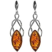 Noda - Orecchini in ambra baltica color miele e argento sterling, stile celtico