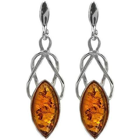 Baltic Honey Amber Sterling Silver Celtic Earrings