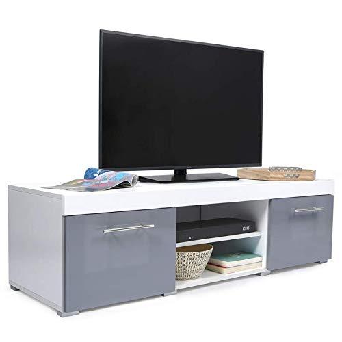 IDMarket - Meuble TV contemporain PORTLAND bois blanc gris laqué