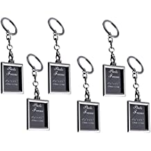 LUOEM marco de fotos llavero llaveros Mini Metal Llavero Regalo para pareja y familia (Rectángulo