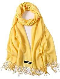 a8939631e013 Freesiom Echarpe Unisexe Homme Femme Hiver Chaude Longue Couleur Uni Frange  Châle Foulard Tour Cache Cou