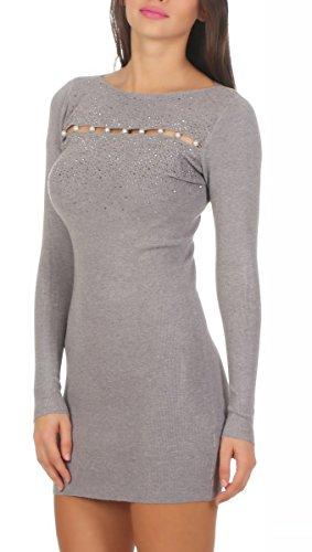 5453 Fashion4Young Damen Feinstrick Pullover Strickkleid Minikleid Perlen Glitzer 2 Designs Grau