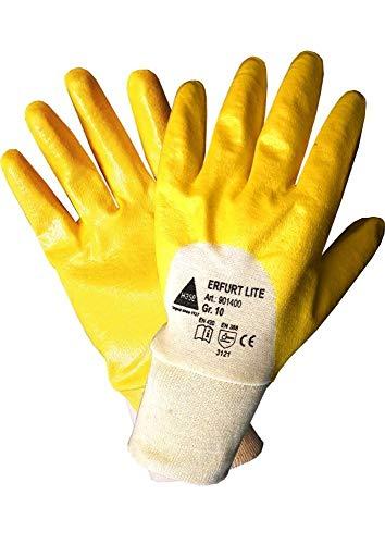 StrongAnt® - Arbeitshandschuhe ERFURT lite, Nitril teilbeschichtet mit Strickbund Garten Handschuhe 12 PAAR - Größe: 10