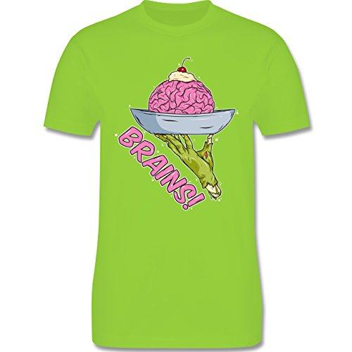 Shirtracer Halloween - Brains! - Zombies Halloween - Herren T-Shirt Rundhals Hellgrün