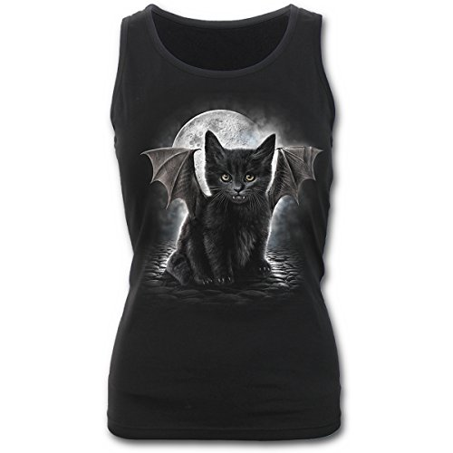 Spiral Bat Cat Katze Tank Top Shirt - Girlie Schwarz
