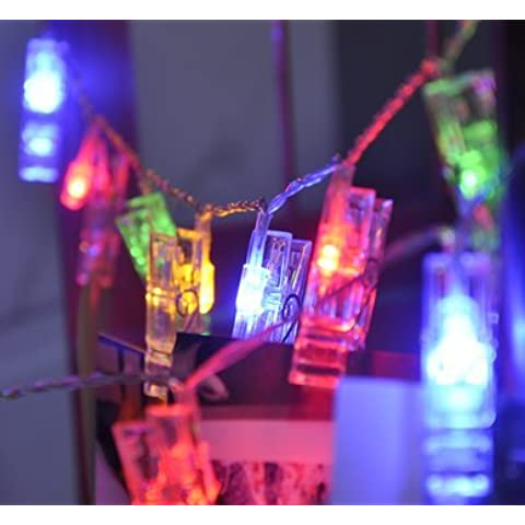 Yifom Clips de fotos creativas cadena led Luces luces de pared,Color