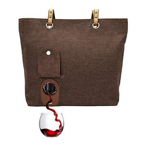 PortoVino Weinschultertasche (Schokolade) - Modisch mit verstecktem, isoliertem Fach für 2 Flaschen Wein auf dem Weg!
