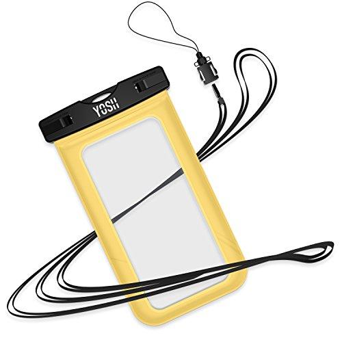 Custodia Impermeabile ✪ GARANZIA A VITA ✪ YOSH® Universale 6 Pollici Waterproof Case per iPhone 6s 6 plus 5c 5s 5 se, Samsung Galaxy s7 s6 s5 edge plus, Huawei P9 P8, LG, HTC M8, M9 Plus, ecc IPX8 (Ne Giallo