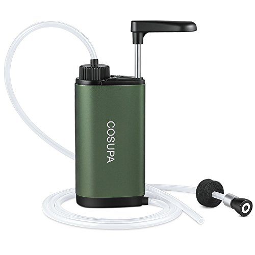 COSUPA Outdoor Wasserfilter, Tragbarer Wasseraufbereitung, Mini Trinkwasserfilter mit Leistungsstarker Filtration, Verbessert 0,01 Mikron, Ideal für Wanderungen, Camping oder Notfälle
