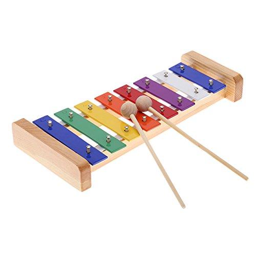 Andoer Madera de Pino Xilófono 8-Note 3mm Colorido Placa de Aluminio C Tecla Percusión Toddle Juguetes Musicales para Ninos