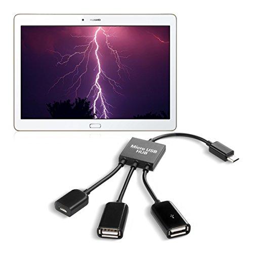 kwmobile 3in1 Micro USB OTG Hub Adapter für Huawei MediaPad M2 10.0 - Mikro USB Verteiler in Schwarz