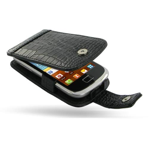 PDair Handarbeit Leder Hülle - Leather Flip Case for Samsung Galaxy Mini 2 GT-S6500 (Black Crocodile Pattern)