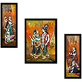 SAF UV Textured Radha Krishna Print Framed Painting (Synthetic, 35 cm x 2 cm x 50 cm, Set of 3, SANFSW56)