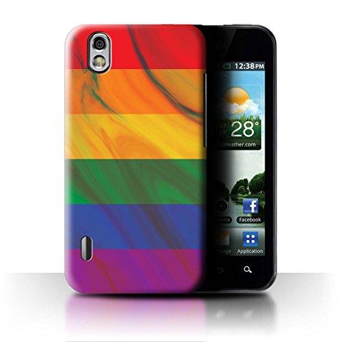 Stuff4® Hülle/Case für LG Optimus Black P970 / Regenbogenfahne/Marmor Muster/LGBT Gay Pride Kunst Kollektion (Black Lg P970 Optimus)