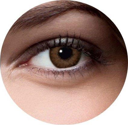Weiche farbige Kontaktlinsen ohne Stärke für Halloween Fasching Party Kostüm und den Alltag (mit Kontaktlinsenbehälter, Braun)