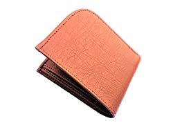 Real Leather Handmade Bi Fold Mens Wallet (Tan Curve)