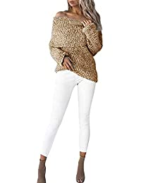 Betrothales Mujer Suéter De Punto Barco Cuello Sin Tirantes Manga Larga  Sweater Fashion Otoño Casuales Vintage 918f591bd5ad