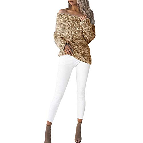 Suéter De Punto Mujer Manga Larga Barco Cuello Sin Tirantes Sweater  Elegantes Fashion Anchos Casuales Basic 4b1751292793