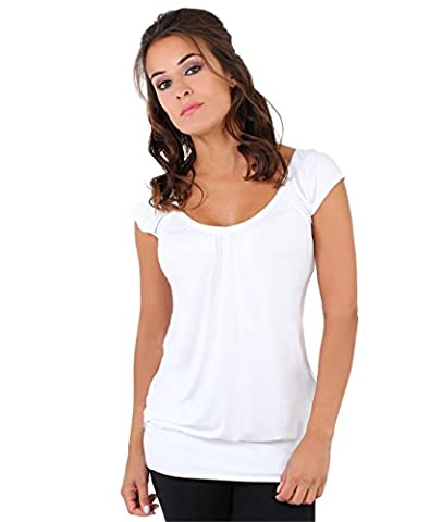 7604-WHT-22: KRISP Damen Top Geraffter V-Ausschnitt (Weiß, Gr.50) (Top Casual Dress)