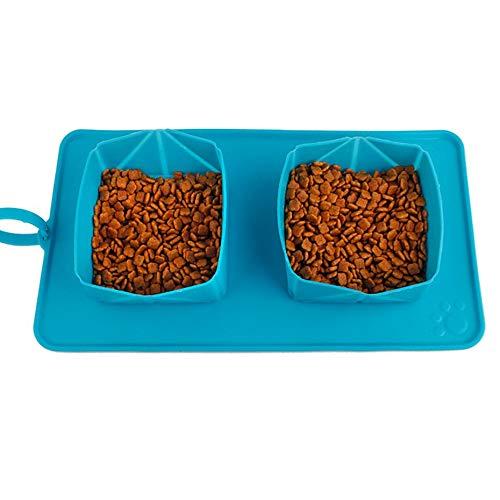 Panamami Pet Dog Cat Double Bowl Impermeable Doblado Perro Water Bowl Bolsa de Almacenamiento de Alimentos Travel Camping Food Feeder-Blue
