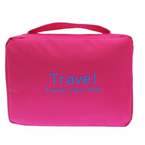 Borsa da Toilette Sospesa con 1 Fascia per PCS, Borsa da Viaggio Grande Kit da Viaggio Organizzatore per Sacchetti di Spazzole per Trucco di Bellezza Borsa Cosmetica Portatile (Rosa Rossa)