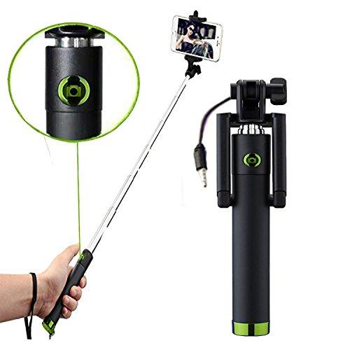 Microsoft Lumia 540 - Professional Mini Selfie Teleskop Stange Stick mit integriertem Selbstauslöser - Grün
