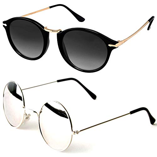 Square UV Protected Round Sunglasses for Womens Combo (Rising Black + RSSM) (Silver Mercury | Black)