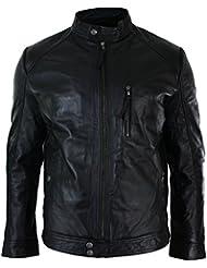 Veste hommes Biker noire fermeture éclair authentique cuir slim fit Rétro vintage smart décontracté