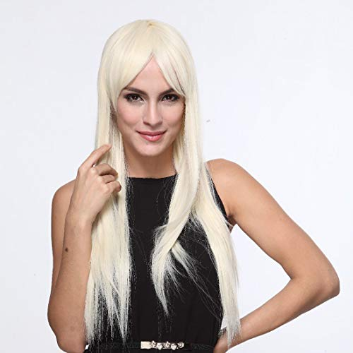 Heißer Verkauf Europa Und Amerika Perücke Schräge Pony Lange Glatte Haare Perücke 613 Hellgold Blonde Perücken (Verkauf Halloween Damen Verwendet Kostüme)