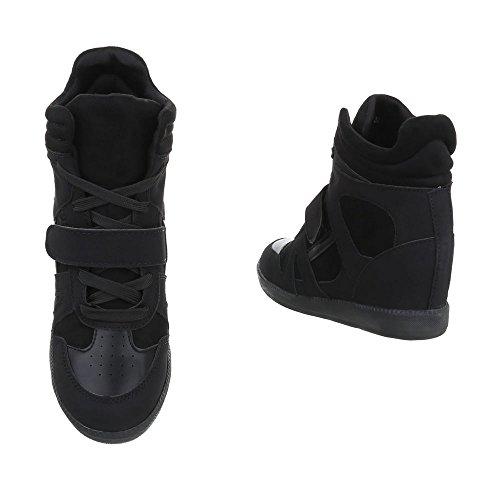 Ital-Design Sneakers High Damenschuhe Sneakers High Keilabsatz/Wedge Keilabsatz Reißverschluss Freizeitschuhe Schwarz