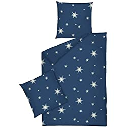 JACK by Dormisette Fein Biber Bettwäsche Stern Sterne Blau Weiß, Größe:200x220cm Bettwäsche