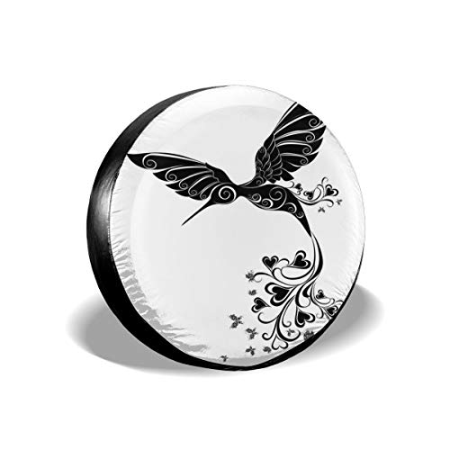 ErwangGo Tire Cover Wheel Covers,Hummingbird with Hearts Tail and Swirled Feathers Monochrome Animal,for SUV Truck Camper Travel Trailer Accessories(14,15,16,17 Inch) 15 Hummingbird Fish