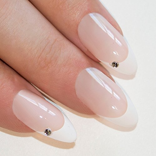 Falsche Nägel Bling Art Weiß Kristall Stilett Mandel 24 Kunstnägel Lange Tipps mit - Für Finger-nagel-kunst Halloween
