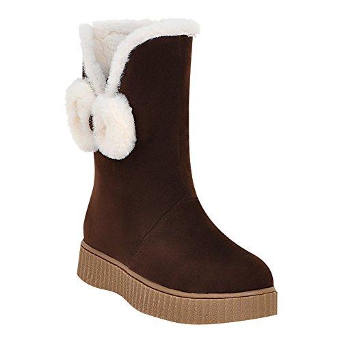 Mee Shoes Damen Pompon halbschaft Nubukleder Schneestiefel Braun