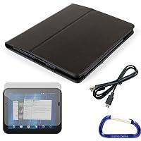Gizmo Idioti custodia in finta pelle (nero), proteggi schermo e cavo USB, con moschettone per il HP