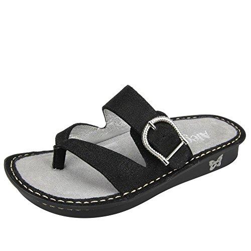 Alegria Valentina Damen Leder Keilabsätze Sandale Brushed Black