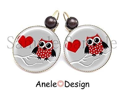 Boucles d'oreille Chouette coeur rouge gris noir coeur pois