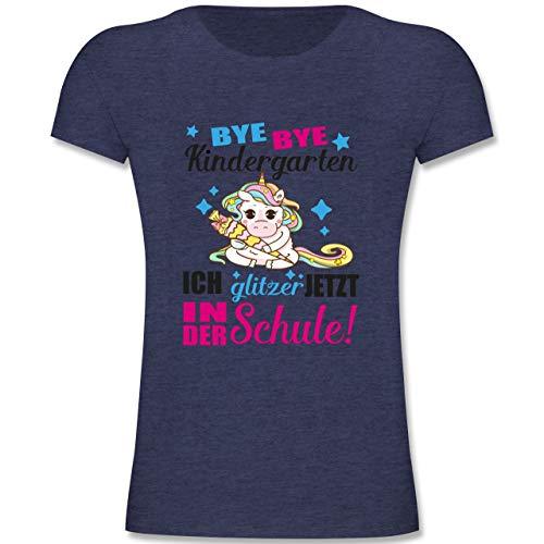 Einschulung und Schulanfang - Ich Glitzer jetzt in der Schule Einhorn mit Schultüte - Fuchsia - 116 (5-6 Jahre) - Dunkelblau Meliert - F131K - Mädchen Kinder T-Shirt -