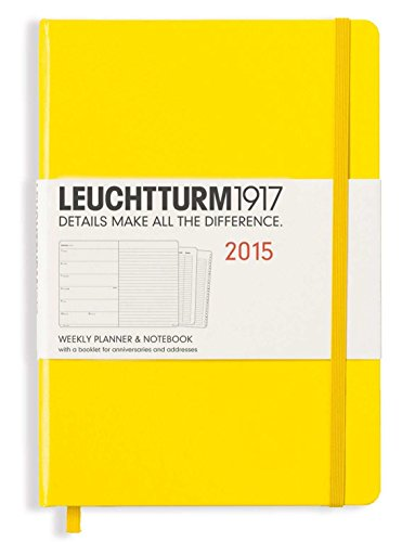 LEUCHTTURM1917 345483 Weekly Planner and Notebook Medium (A5) 2015 with extra booklet, Lemon, English