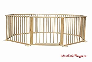 Wooden Baby Playpen - 8-Panel Large Play Pen / Room Divider for your Babies & Toddlers / International Delivery by InfantSafe