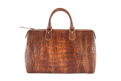 Anna Cecere - Bauletto in vera pelle Made in Italy stampa coccodrillo - Blonde - 33x23x18 cm